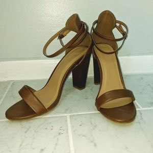 Bamboo Faux Leather Sandals with Ankle Strap